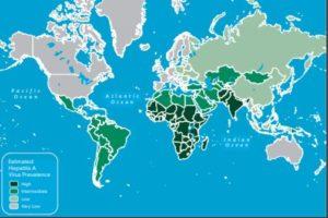Hepatitis A prevalentie wereldwijd